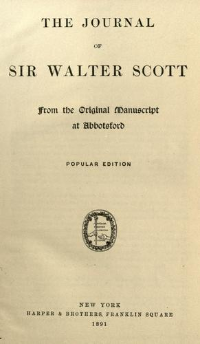 Download The journal of Sir Walter Scott