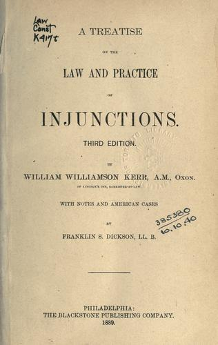 A treatise on the law and practice of injunctions.