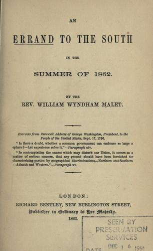 An errand to the South in the summer of 1862