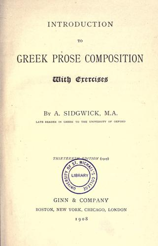 Introduction to Greek prose composition