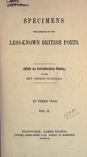 Specimens, with memoirs of the less-known British poets.