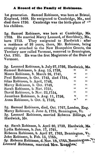 Genealogical history of the families of Robinsons, Saffords, Harwoods, and Clarks by Sarah Robinson