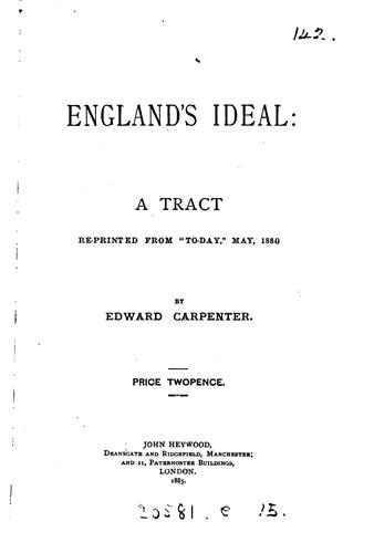 England's Ideal: A Tract by Edward Carpenter