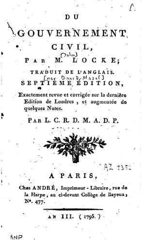 Du gouvernement civil by John Locke