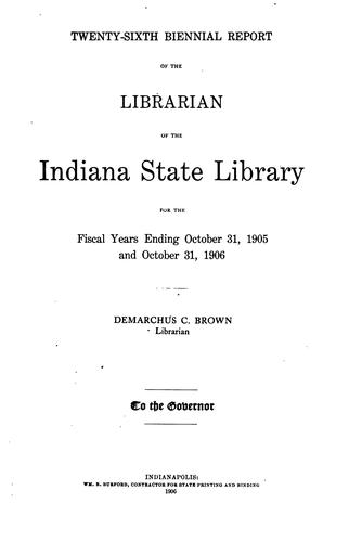 Biennial Report by Indiana State Library
