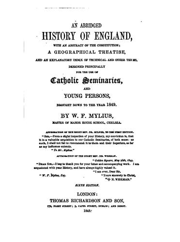 THE HISTORY OF ENGLAND FOR THE USE OF SCHOOLS AND YOUNG PERSONS by W. F MYLIUS