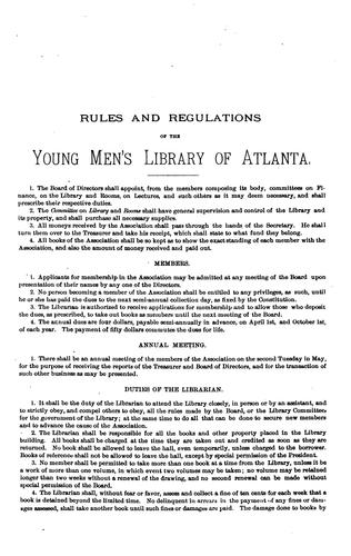 Catalogue of the Young Men's Library of Atlanta by Atlanta (Ga.). Young Men's Library Association