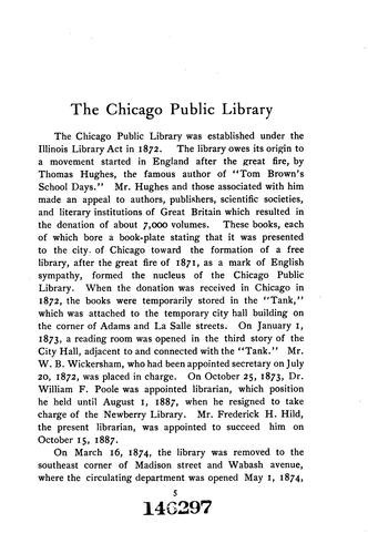The Chicago Public Library: A Handbook by Chicago Public Library