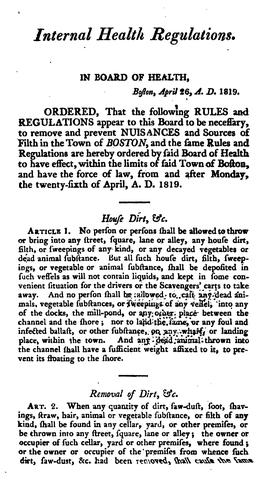 Rules, Regulations and Orders of the Board of Health of Boston: Relative to the Police of Said Town by Boston (Mass.). Board of Health