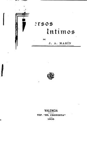 Versos Intimos by J. A. Marin