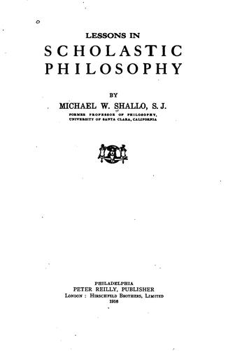 Lessons in Scholastic Philosophy by Michael Shallo