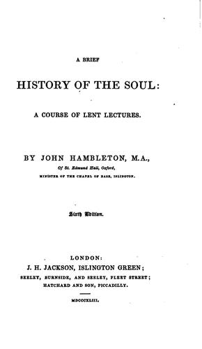 A brief history of the soul, 6 sermons by John Hambleton