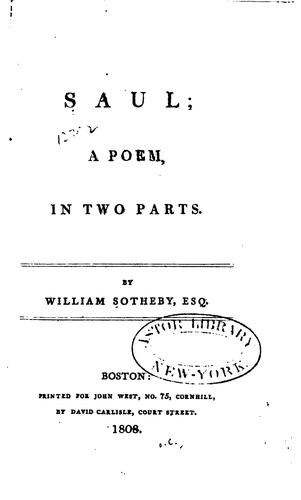 Saul: A Poem, in Two Parts by William Sotheby