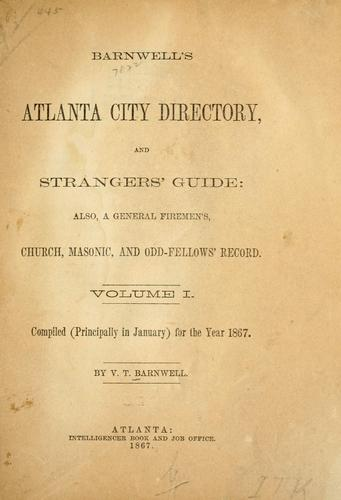 Barnwell's Atlanta city directory, and strangers' guide by V. T. Barnwell