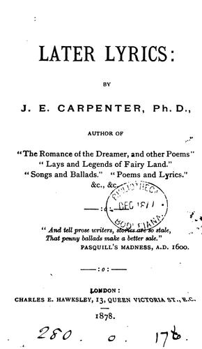 Later lyrics by Joseph Edwards Carpenter