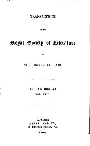 Transactions of the Royal Society of Literature of the United Kingdom by Royal Society of Literature (Great Britain)