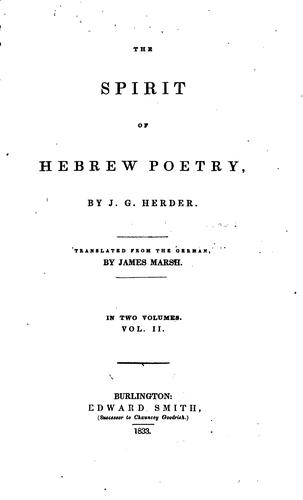 the spirit of hebrew poetry by James marsh