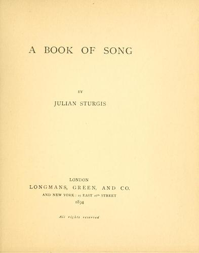 A book of song by Julian Sturgis