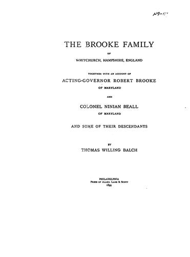 The Brooke Family of Whitchurch, Hampshire, England by Balch, Thomas Willing