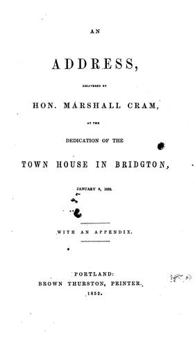 An Address by Marshall Cram