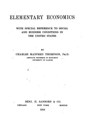 Elementary economics by Thompson, Charles Manfred