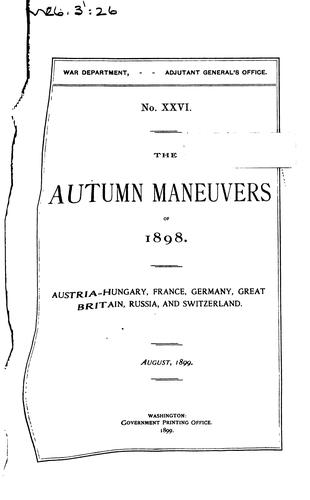Autumn Maneuvers of 1898 by United States Military Information Division. War Dept