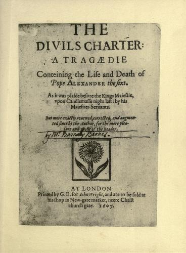 The divils charter by Barnabe Barnes
