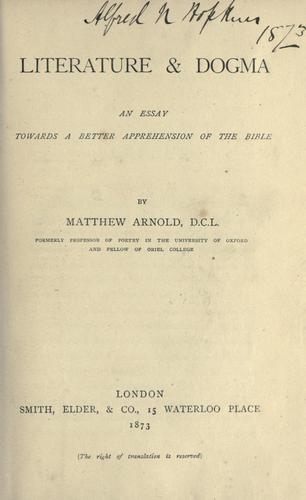 Literature & dogma by Matthew Arnold