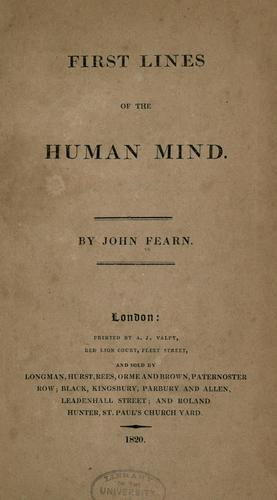First lines of the human mind by John Fearn