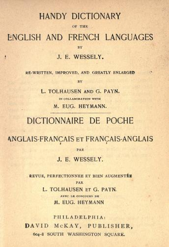 Handy dictionary of the English and French languages =
