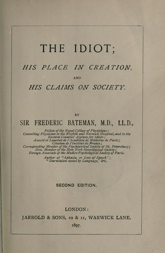 The idiot by Bateman, Frederick Sir