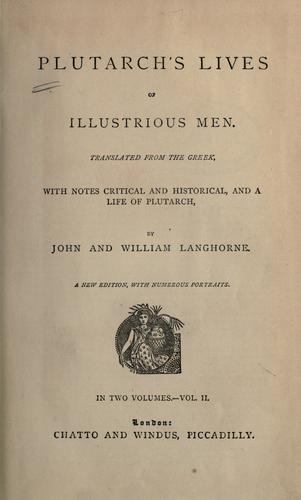 Lives of illustrious men by Plutarch