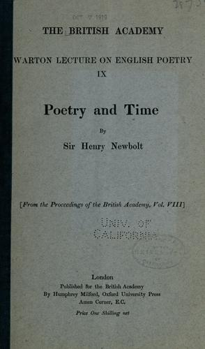 Poetry and time by Newbolt, Henry John Sir