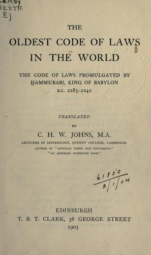 The oldest code of laws in the world