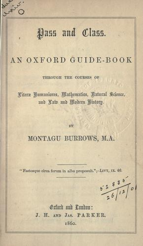 Pass and class by Montagu Burrows