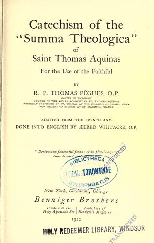 Catechism of the Summa theologica of Saint Thomas Aquinas by Thomas Pègues