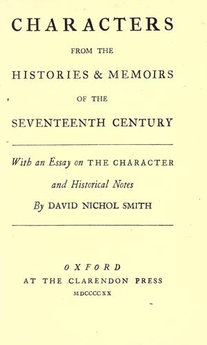 Characters from the histories & memoirs of the seventeenth century by David Nichol Smith