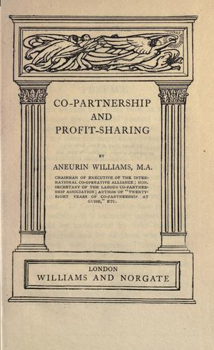 Co-partnership and profit-sharing by Aneurin Williams