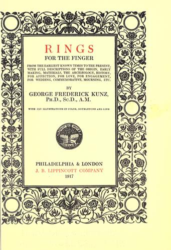 Rings for the finger by George F. Kunz, George Frederick Kunz