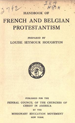 Handbook of French and Belgian Protestantism