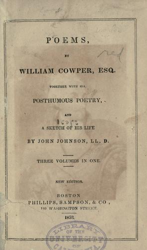 Poems by William Cowper, Esq by William Cowper